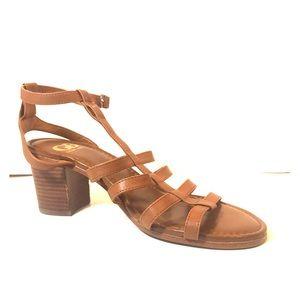 Gianni Bini Brown Leather Ankle Strap Sandals EUC